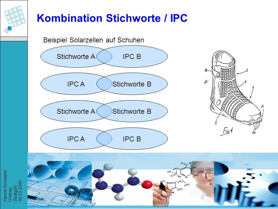 Recherchestrategien, Henrik Schreiber, März 2009 Henrik Schreiber Vortrag Stuttgart 06.03.2009 Kombination Stichworte / IPC Beispiel Solarzellen auf Schuhen Stichworte AIPC B IPC AStichworte B Stichworte AStichworte B IPC AIPC B