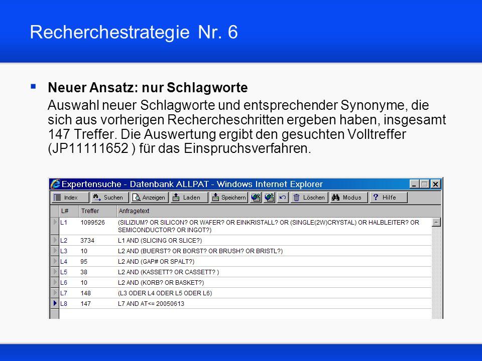 Recherchestrategie Nr. 6 Neuer Ansatz: nur Schlagworte Auswahl neuer Schlagworte und entsprechender Synonyme, die sich aus vorherigen Rechercheschritt