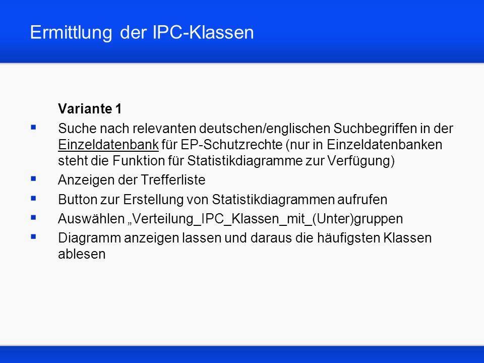 Ermittlung der IPC-Klassen Variante 1 Suche nach relevanten deutschen/englischen Suchbegriffen in der Einzeldatenbank für EP-Schutzrechte (nur in Einz
