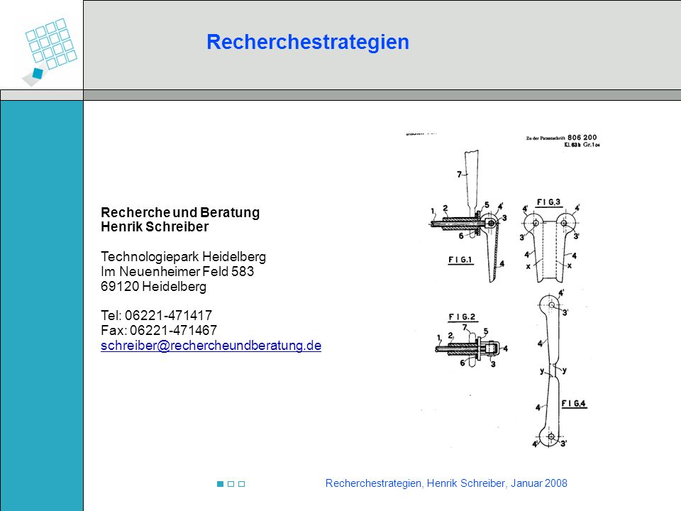 Recherchestrategien, Henrik Schreiber, Januar 2008 Neben den Zitaten die von den Datenbanken erfasst werden, finden sich oftmals Treffer im Text der Patente.