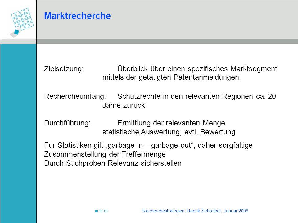 Recherchestrategien, Henrik Schreiber, Januar 2008 Marktrecherche Zielsetzung:Überblick über einen spezifisches Marktsegment mittels der getätigten Pa