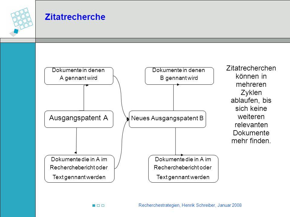 Recherchestrategien, Henrik Schreiber, Januar 2008 Zitatrecherche Ausgangspatent A Dokumente in denen A gennant wird Dokumente die in A im Recherchebe