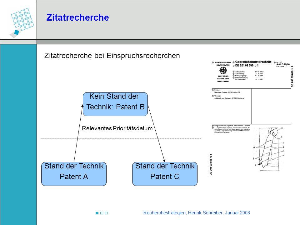 Recherchestrategien, Henrik Schreiber, Januar 2008 Relevantes Prioritätsdatum Stand der Technik Patent A Kein Stand der Technik: Patent B Stand der Te