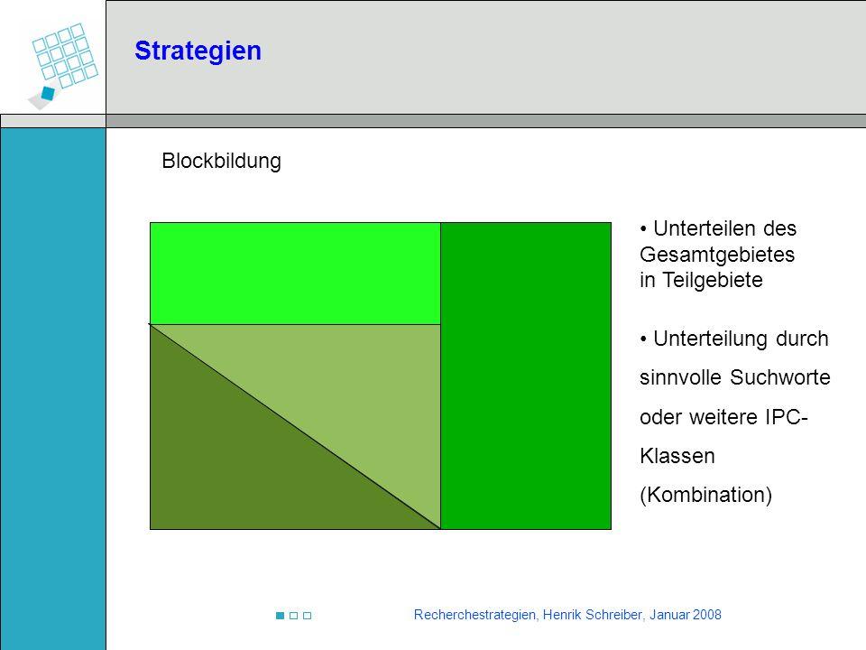 Recherchestrategien, Henrik Schreiber, Januar 2008 Strategien Unterteilen des Gesamtgebietes in Teilgebiete Unterteilung durch sinnvolle Suchworte ode