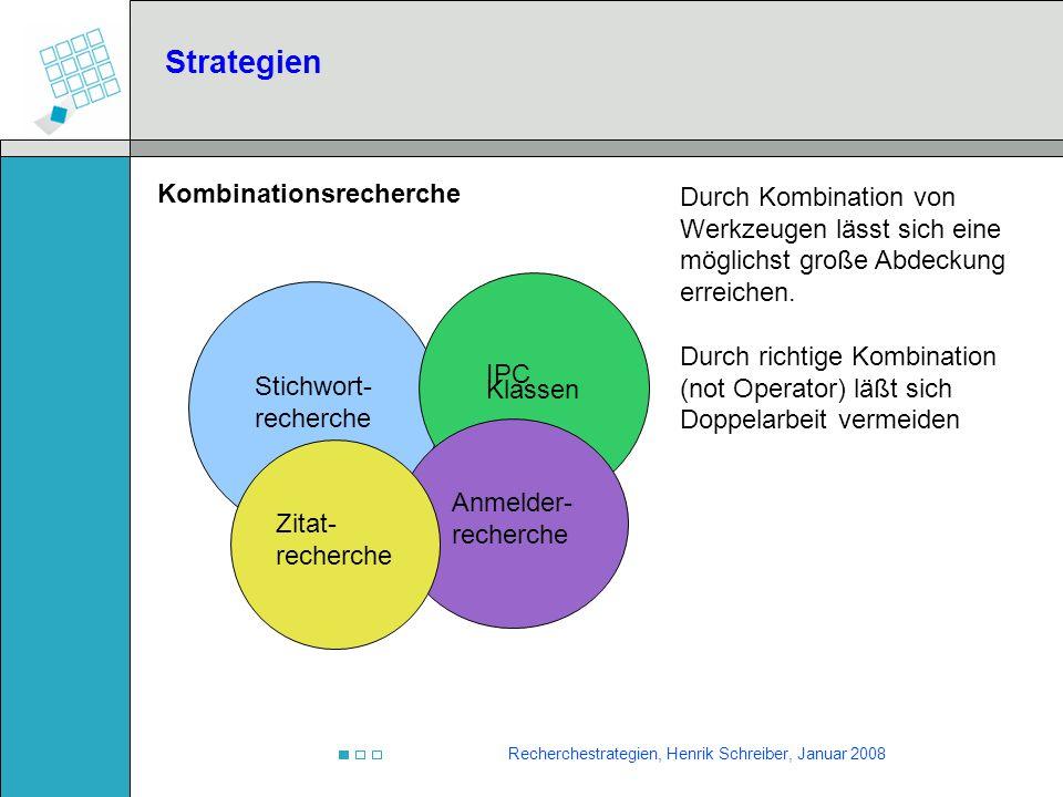 Recherchestrategien, Henrik Schreiber, Januar 2008 Kombinationsrecherche Strategien Stichwort- recherche IPC Klassen Anmelder- recherche Durch Kombina