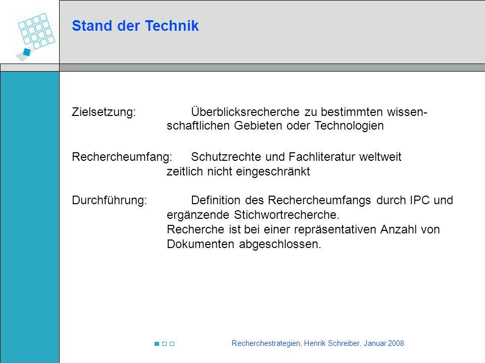 Recherchestrategien, Henrik Schreiber, Januar 2008 Stand der Technik Zielsetzung:Überblicksrecherche zu bestimmten wissen- schaftlichen Gebieten oder