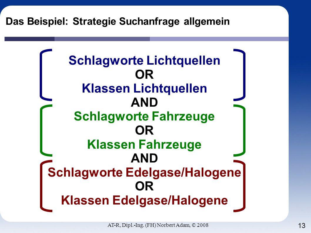 AT-R, Dipl.-Ing. (FH) Norbert Adam, © 2008 13 Das Beispiel: Strategie Suchanfrage allgemein Schlagworte Lichtquellen OR Klassen Lichtquellen AND Schla