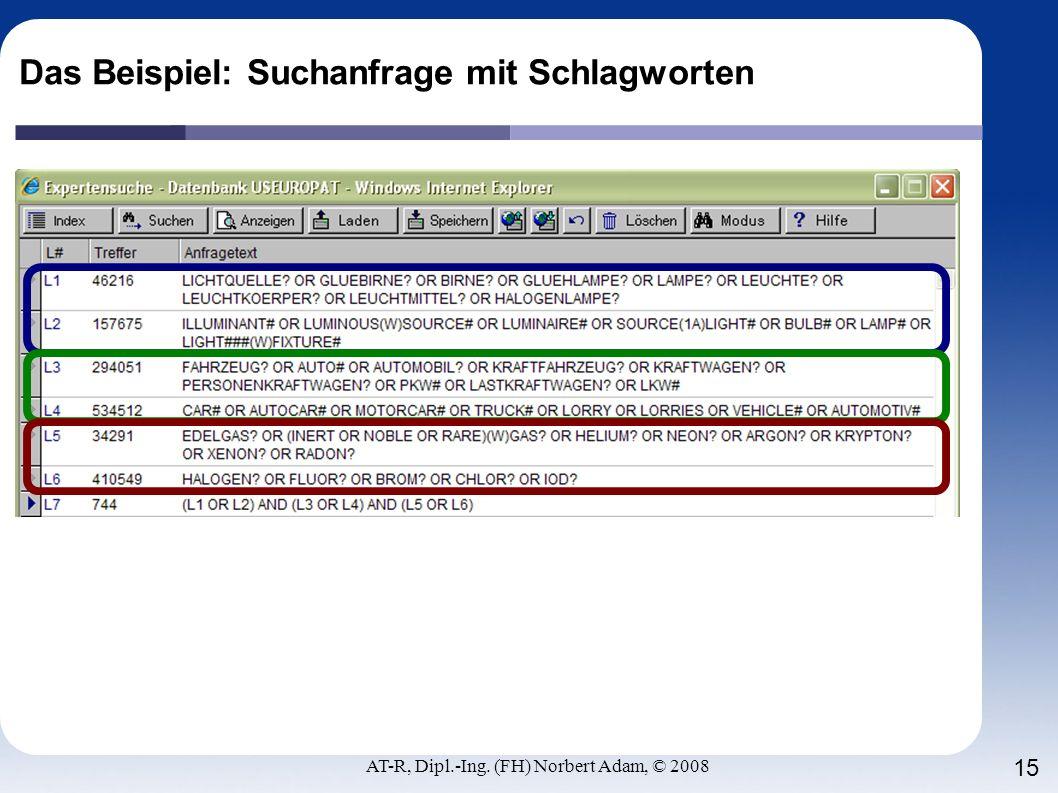 AT-R, Dipl.-Ing. (FH) Norbert Adam, © 2008 15 Das Beispiel: Suchanfrage mit Schlagworten
