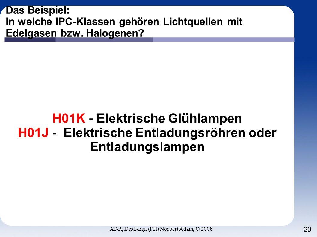 AT-R, Dipl.-Ing. (FH) Norbert Adam, © 2008 20 Das Beispiel: In welche IPC-Klassen gehören Lichtquellen mit Edelgasen bzw. Halogenen? H01K - Elektrisch