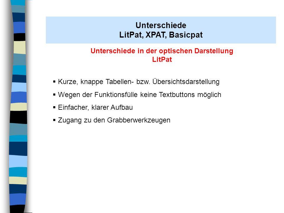 Unterschiede in der optischen Darstellung LitPat Kurze, knappe Tabellen- bzw. Übersichtsdarstellung Wegen der Funktionsfülle keine Textbuttons möglich