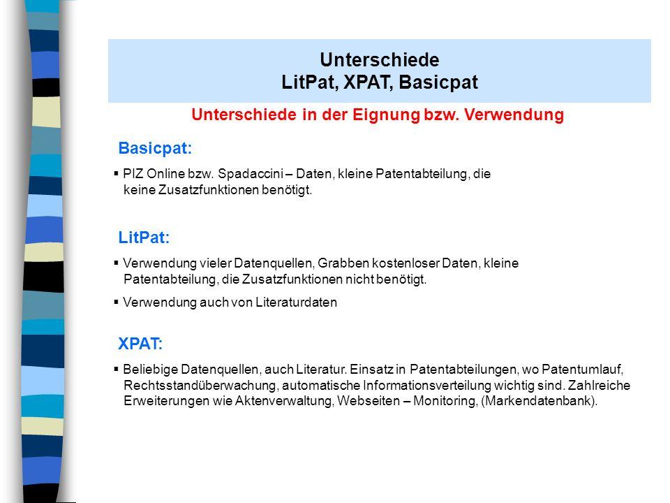 Unterschiede in der Eignung bzw. Verwendung Basicpat: PIZ Online bzw. Spadaccini – Daten, kleine Patentabteilung, die keine Zusatzfunktionen benötigt.