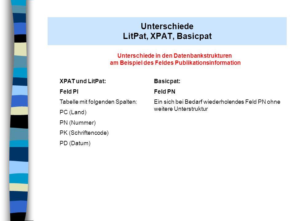 AH Stuttgart 07.11.2008 Unterschiede in den Datenbankstrukturen am Beispiel des Feldes Publikationsinformation XPAT und LitPat: Feld PI Tabelle mit fo