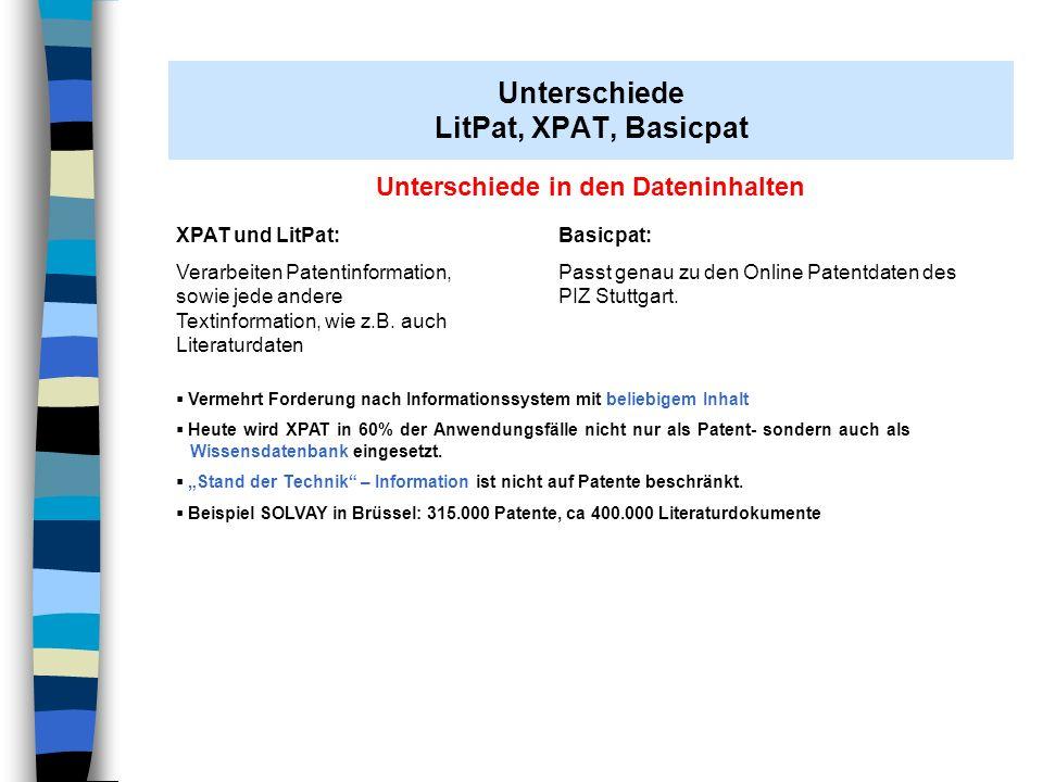 AH Stuttgart 07.11.2008 Unterschiede in den Dateninhalten XPAT und LitPat: Verarbeiten Patentinformation, sowie jede andere Textinformation, wie z.B.