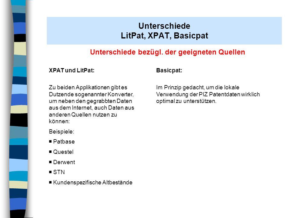 Unterschiede in der optischen Darstellung Basicpat Kurze, knappe Tabellen- bzw.