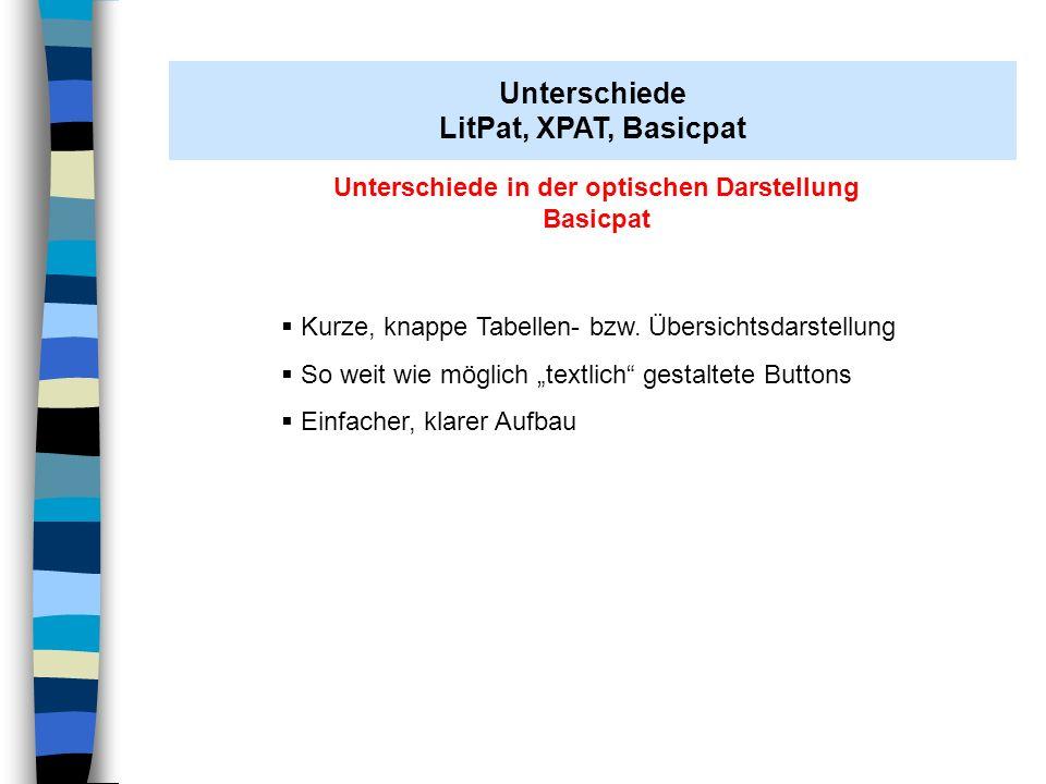 Unterschiede in der optischen Darstellung Basicpat Kurze, knappe Tabellen- bzw. Übersichtsdarstellung So weit wie möglich textlich gestaltete Buttons