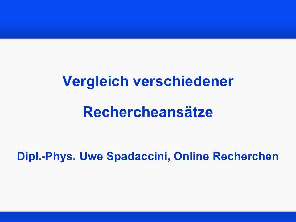 Vergleich verschiedener Rechercheansätze Dipl.-Phys. Uwe Spadaccini, Online Recherchen