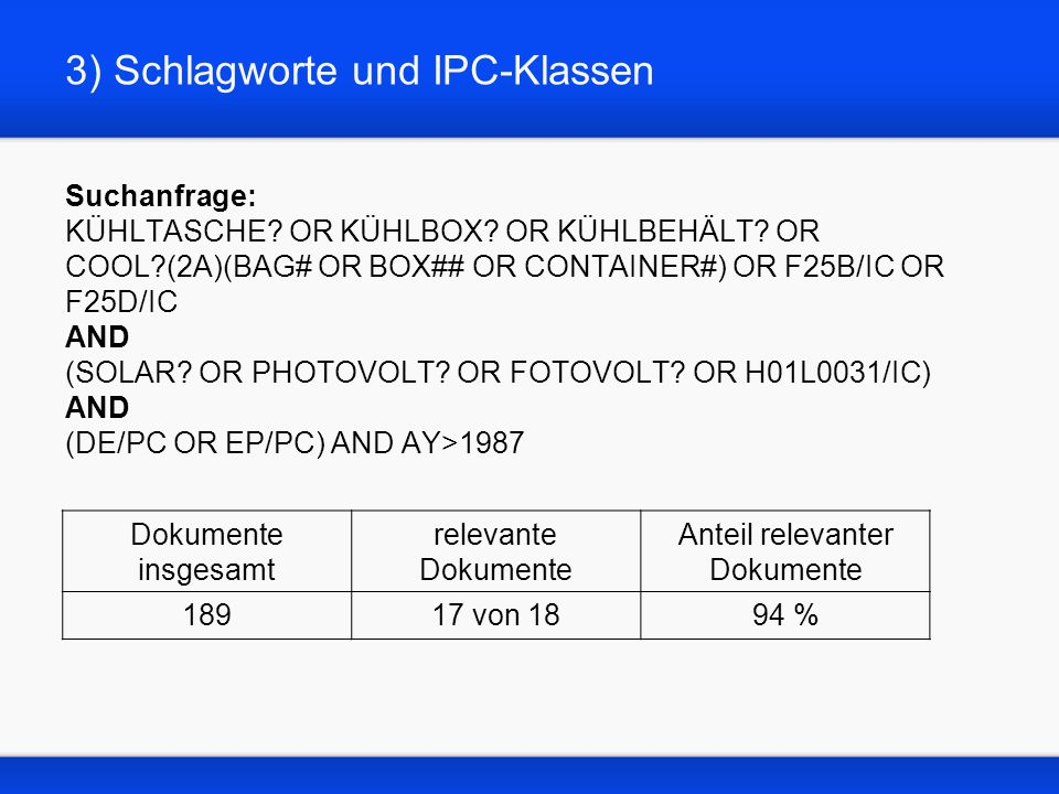 3) Schlagworte und IPC-Klassen Suchanfrage: KÜHLTASCHE? OR KÜHLBOX? OR KÜHLBEHÄLT? OR COOL?(2A)(BAG# OR BOX## OR CONTAINER#) OR F25B/IC OR F25D/IC AND