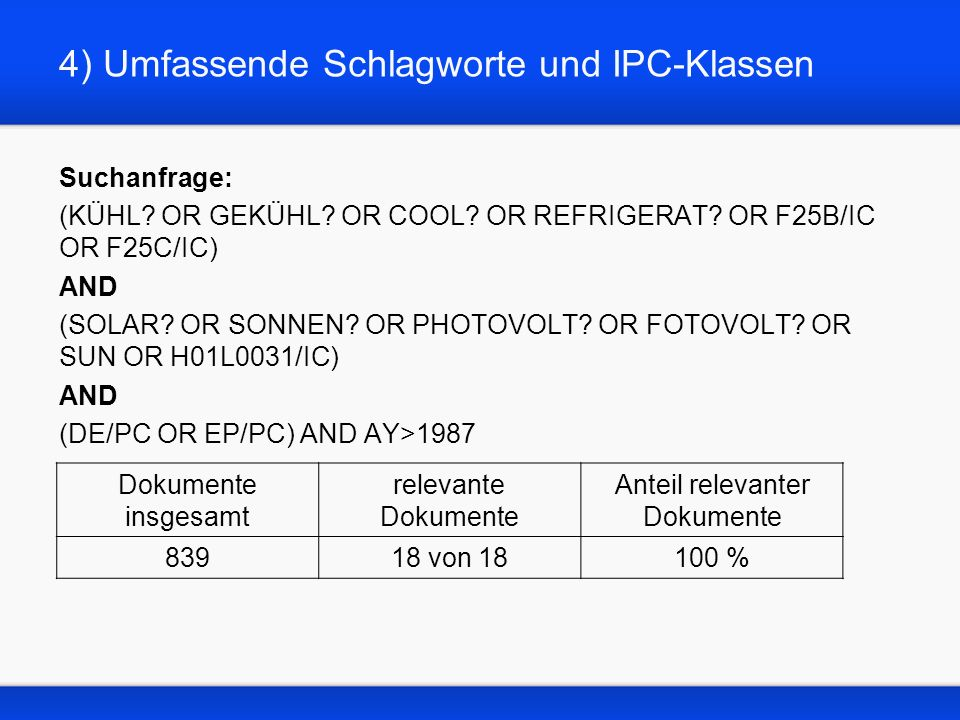 4) Umfassende Schlagworte und IPC-Klassen Suchanfrage: (KÜHL? OR GEKÜHL? OR COOL? OR REFRIGERAT? OR F25B/IC OR F25C/IC) AND (SOLAR? OR SONNEN? OR PHOT