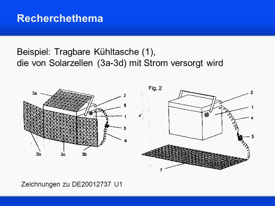 Recherchethema Beispiel: Tragbare Kühltasche (1), die von Solarzellen (3a-3d) mit Strom versorgt wird Zeichnungen zu DE20012737 U1