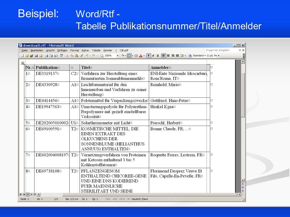 Beispiel: Word/Rtf - Tabelle Publikationsnummer/Titel/Anmelder