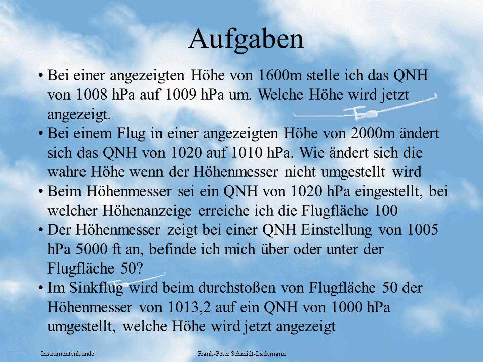 Instrumentenkunde Frank-Peter Schmidt-Lademann Aufgaben Bei einer angezeigten Höhe von 1600m stelle ich das QNH von 1008 hPa auf 1009 hPa um. Welche H