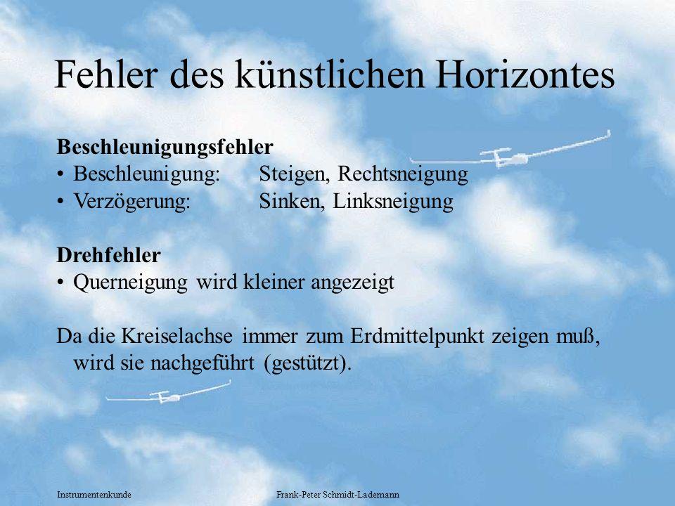 Instrumentenkunde Frank-Peter Schmidt-Lademann Fehler des künstlichen Horizontes Beschleunigungsfehler Beschleunigung: Steigen, Rechtsneigung Verzöger