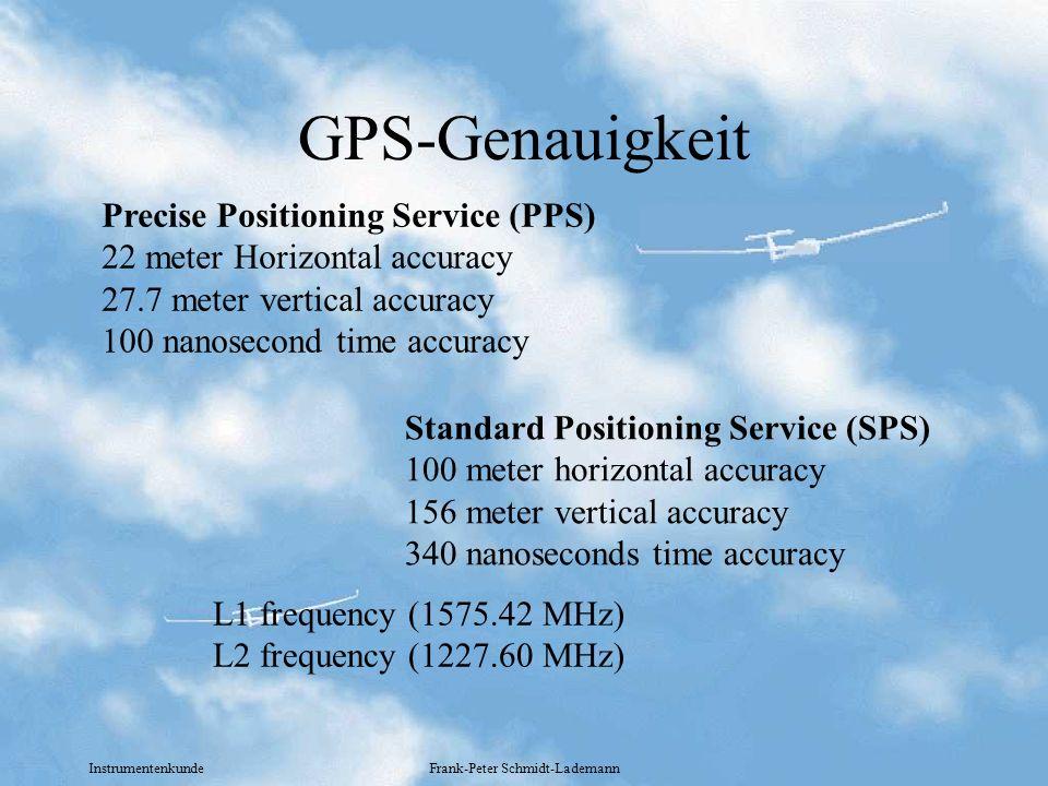Instrumentenkunde Frank-Peter Schmidt-Lademann GPS-Genauigkeit Precise Positioning Service (PPS) 22 meter Horizontal accuracy 27.7 meter vertical accu