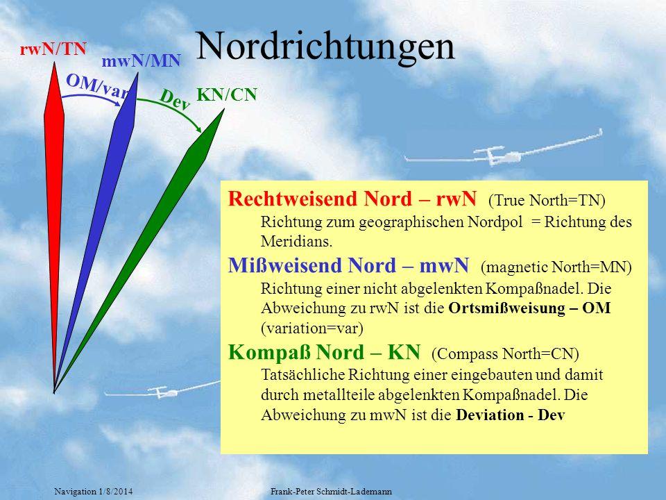 Navigation 1/8/2014Frank-Peter Schmidt-Lademann Nordrichtungen OM/var Dev rwN/TN mwN/MN KN/CN Rechtweisend Nord – rwN (True North=TN) Richtung zum geo