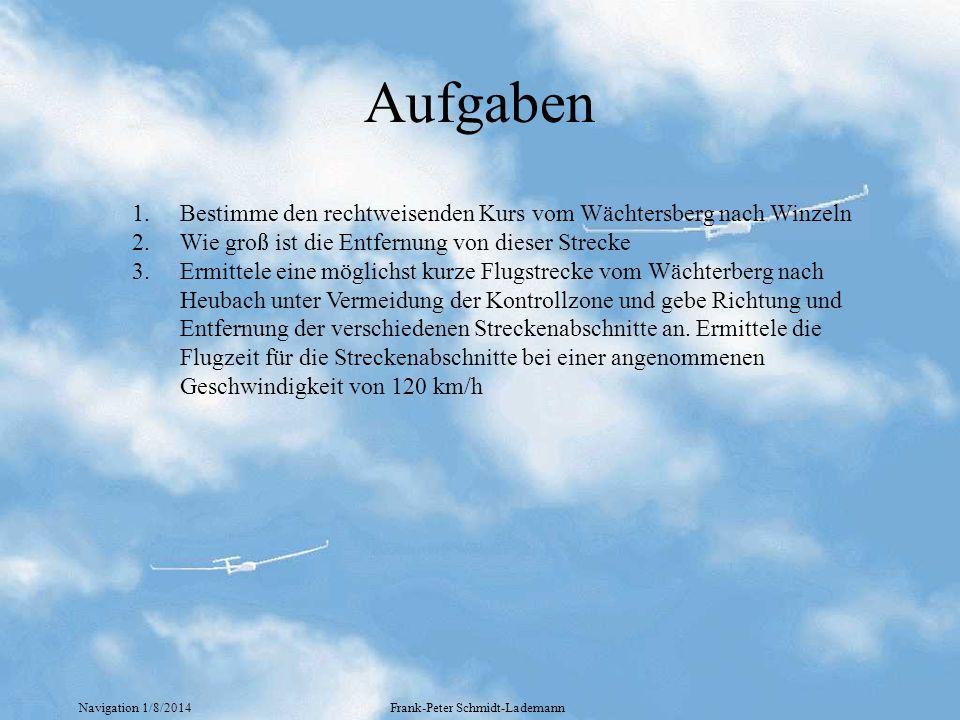 Navigation 1/8/2014Frank-Peter Schmidt-Lademann Aufgaben 1.Bestimme den rechtweisenden Kurs vom Wächtersberg nach Winzeln 2.Wie groß ist die Entfernun