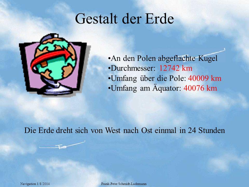 Navigation 1/8/2014Frank-Peter Schmidt-Lademann Standortfestlegung (1) Allgemeines zu Winkeln zur Angabe von Richtungen 45 90 180 270 360 300 - 90 - 60 Bezugslinie (nordrichtung,Flugzeuglänsachse,Kurs) + Uhrzeigersinn - Gegenuhrzeigersinn Der Kreis teilt sich in 360° (Grad) 1 Grad teilt sich in 60 (Minuten) 1 Minute teilt sich in60 (Sekunden) Beispiel: 07°0837