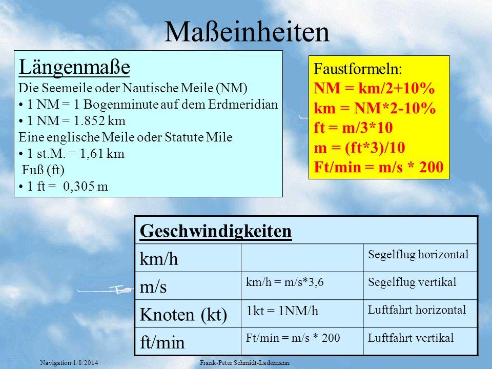 Navigation 1/8/2014Frank-Peter Schmidt-Lademann Maßeinheiten Längenmaße Die Seemeile oder Nautische Meile (NM) 1 NM = 1 Bogenminute auf dem Erdmeridia