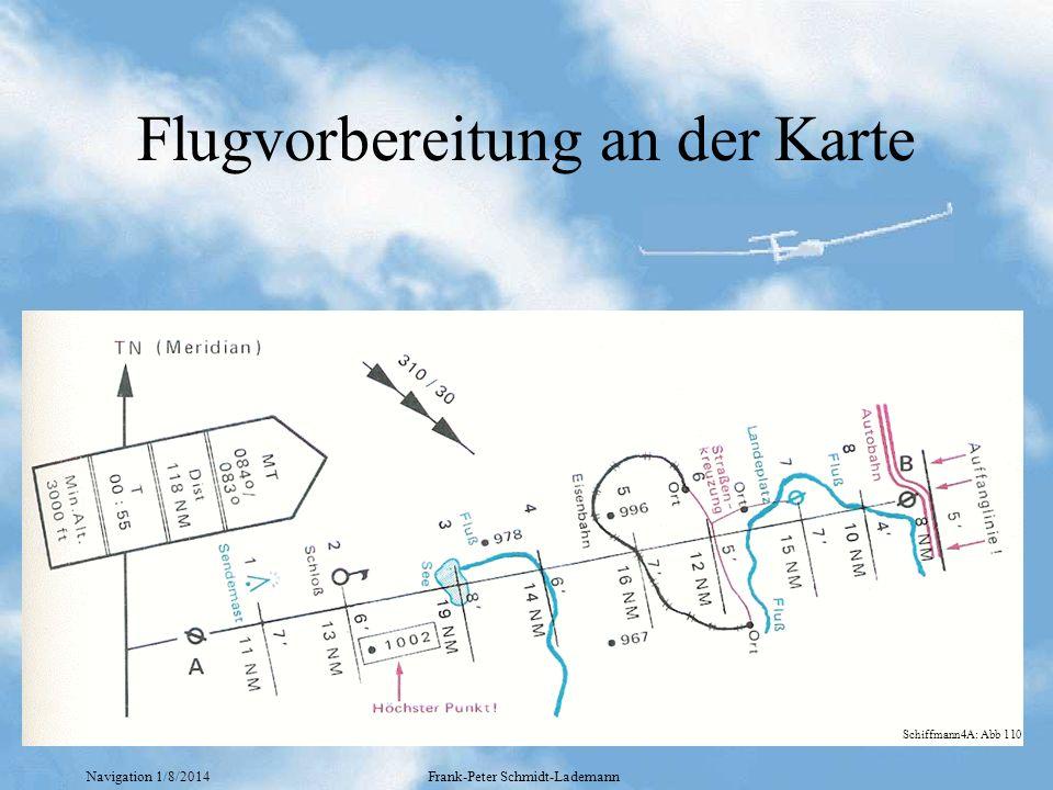 Navigation 1/8/2014Frank-Peter Schmidt-Lademann Flugvorbereitung an der Karte Schiffmann4A: Abb 110