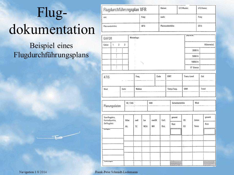 Navigation 1/8/2014Frank-Peter Schmidt-Lademann Flug- dokumentation Beispiel eines Flugdurchführungsplans