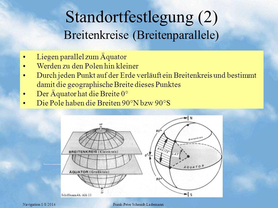 Navigation 1/8/2014Frank-Peter Schmidt-Lademann Standortfestlegung (3) Verlaufen durch die Pole und senkrecht zu den Breitenkreisen Sind alle gleich groß Durch jeden Punkt auf der Erde verläuft ein Längenkreis und bestimmt damit die geographische Länge dieses Punktes Der Meridian, der durch die Sternwarte von Greenwich Verläuft hat die Länge 0° Die Meridiane werden angegeben in 0-180° E bzw 0-180° W Längenkreise (Meridiane) Schiffmann4A: Abb 11