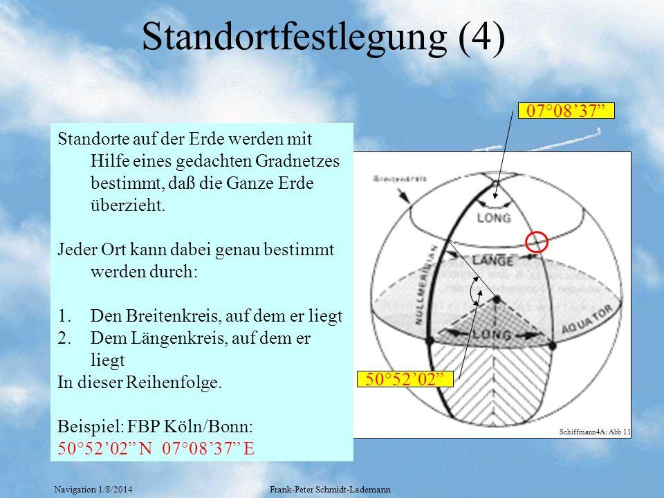Navigation 1/8/2014Frank-Peter Schmidt-Lademann Weitere Begriffe Mittelbreite Äquator° 3°E 5°E 30°N 60°N NP 120NM 104NM 60NM (cos=0.5) (cos=0.87) (cos=1.0) Abweitung Mittelmeridian