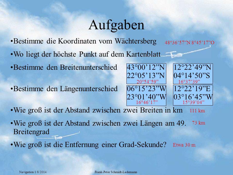 Navigation 1/8/2014Frank-Peter Schmidt-Lademann Bewegung der Erde Die Erde dreht sich von West nach Ost 1 Umdrehung dauert 24 Stunden In einer Stunde dreht sich die Erde um 15° Um 12:00 UTC steht die Sonne genau über dem Nullmeridian Fragen: 1.In welcher Zeit hat sich der Sonnenstand um 27 Winkelgrade geändert 2.Wann steht die Sonne am Wächtersberg genau im Süden 1:48 12:25