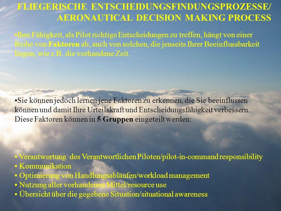 FLIEGERISCHE ENTSCHEIDUNGSFINDUNGSPROZESSE/ AERONAUTICAL DECISION MAKING PROCESS Ihre Fähigkeit, als Pilot richtige Entscheidungen zu treffen, hängt v