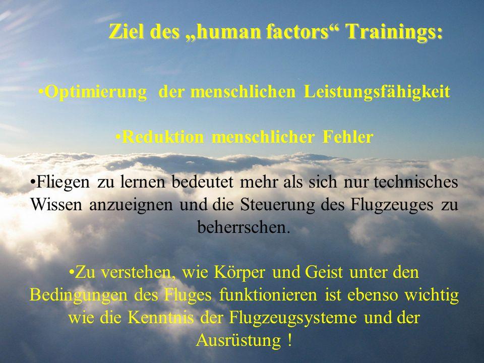 Ziel des human factors Trainings: Optimierung der menschlichen Leistungsfähigkeit Reduktion menschlicher Fehler Fliegen zu lernen bedeutet mehr als si