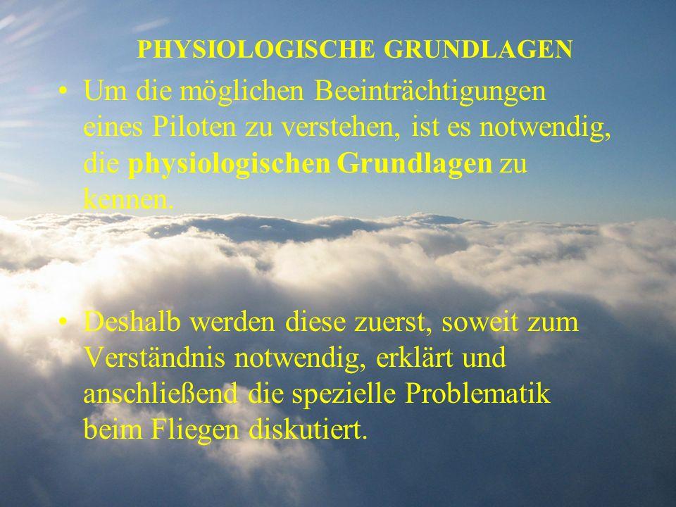 PHYSIOLOGISCHE GRUNDLAGEN Um die möglichen Beeinträchtigungen eines Piloten zu verstehen, ist es notwendig, die physiologischen Grundlagen zu kennen.