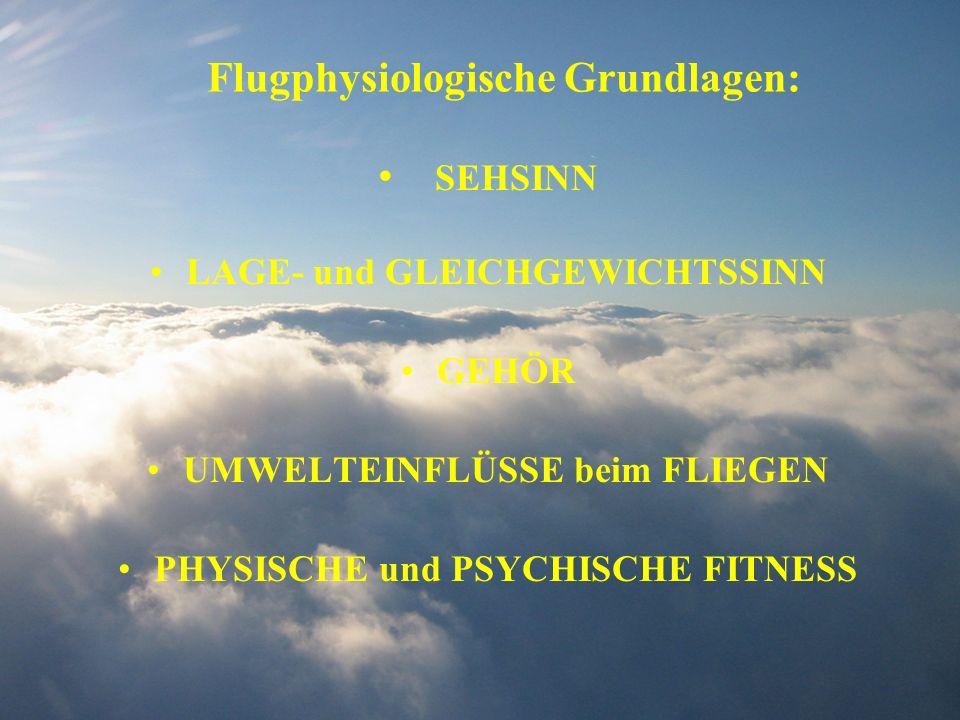 Flugphysiologische Grundlagen: SEHSINN LAGE- und GLEICHGEWICHTSSINN GEHÖR UMWELTEINFLÜSSE beim FLIEGEN PHYSISCHE und PSYCHISCHE FITNESS