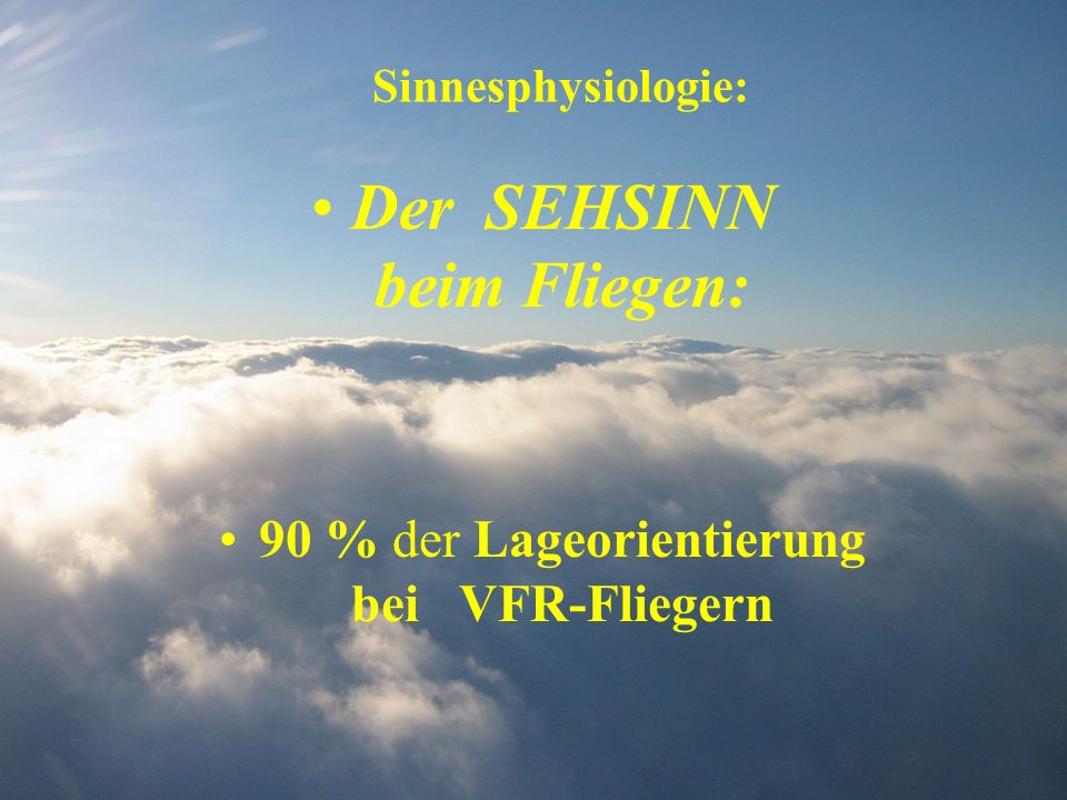 Sinnesphysiologie: Der SEHSINN beim Fliegen: 90 % der Lageorientierung bei VFR-Fliegern
