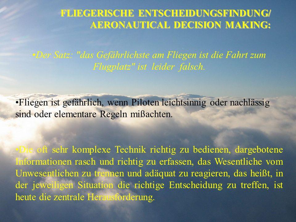 FLIEGERISCHE ENTSCHEIDUNGSFINDUNG/ AERONAUTICAL DECISION MAKING: Der Satz:
