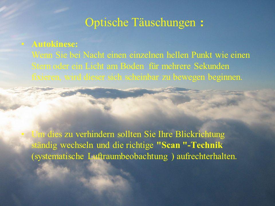 Optische Täuschungen : Autokinese: Wenn Sie bei Nacht einen einzelnen hellen Punkt wie einen Stern oder ein Licht am Boden für mehrere Sekunden fixier