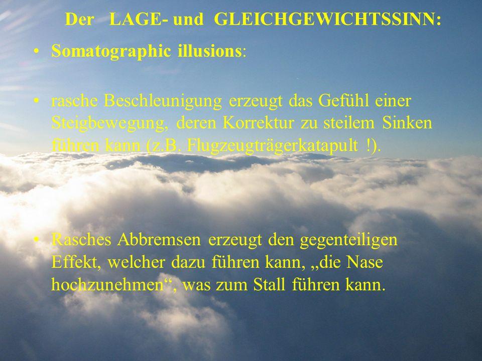 Der LAGE- und GLEICHGEWICHTSSINN: Somatographic illusions: rasche Beschleunigung erzeugt das Gefühl einer Steigbewegung, deren Korrektur zu steilem Si