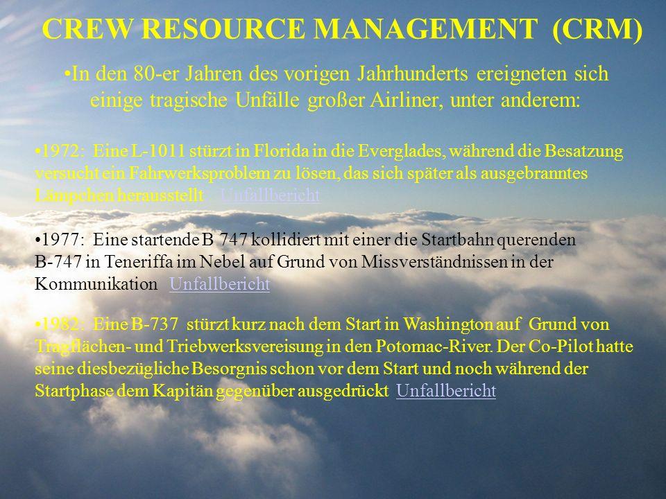 CREW RESOURCE MANAGEMENT (CRM) In den 80-er Jahren des vorigen Jahrhunderts ereigneten sich einige tragische Unfälle großer Airliner, unter anderem: 1