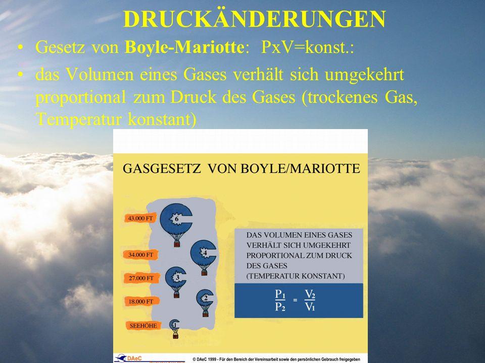 DRUCKÄNDERUNGEN Gesetz von Boyle-Mariotte: PxV=konst.: das Volumen eines Gases verhält sich umgekehrt proportional zum Druck des Gases (trockenes Gas,