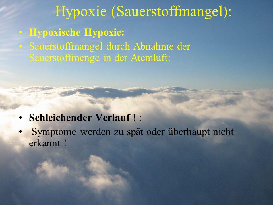Hypoxie (Sauerstoffmangel): Hypoxische Hypoxie: Sauerstoffmangel durch Abnahme der Sauerstoffmenge in der Atemluft: Schleichender Verlauf ! : Symptome
