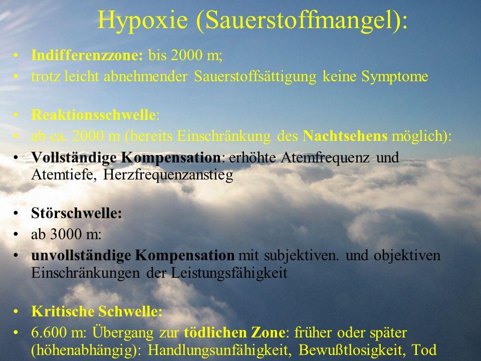 Hypoxie (Sauerstoffmangel): Indifferenzzone: bis 2000 m; trotz leicht abnehmender Sauerstoffsättigung keine Symptome Reaktionsschwelle: ab ca. 2000 m