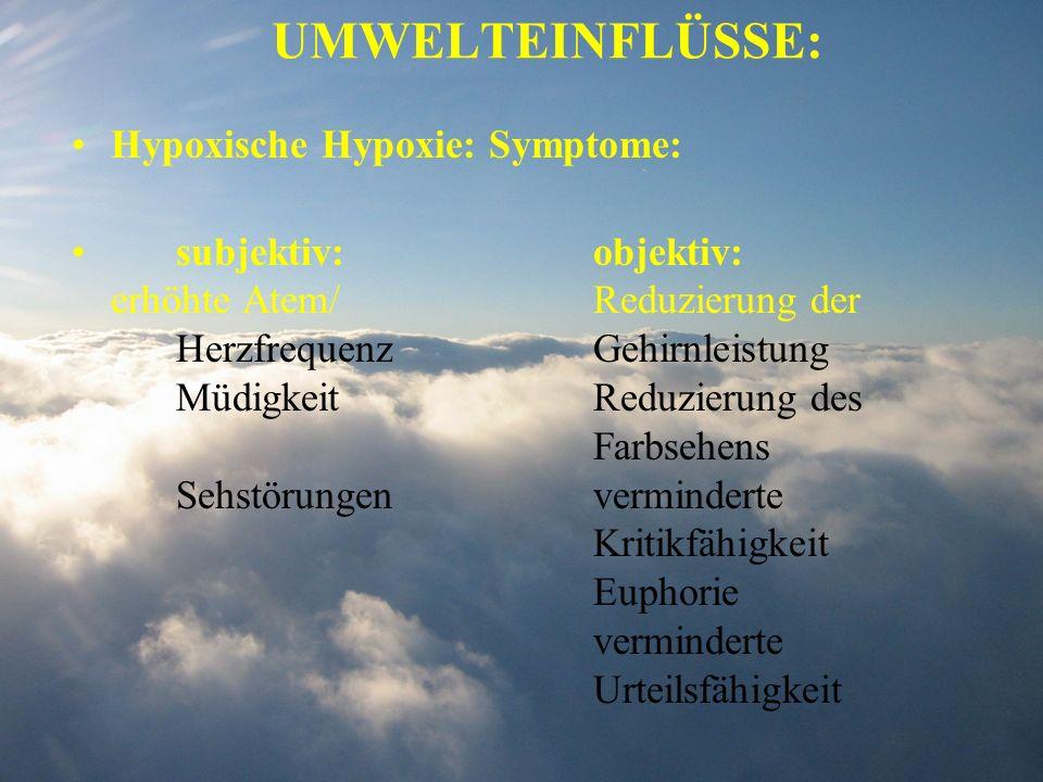 Hypoxische Hypoxie: Symptome: subjektiv:objektiv: erhöhte Atem/Reduzierung der Herzfrequenz Gehirnleistung MüdigkeitReduzierung des Farbsehens Sehstör