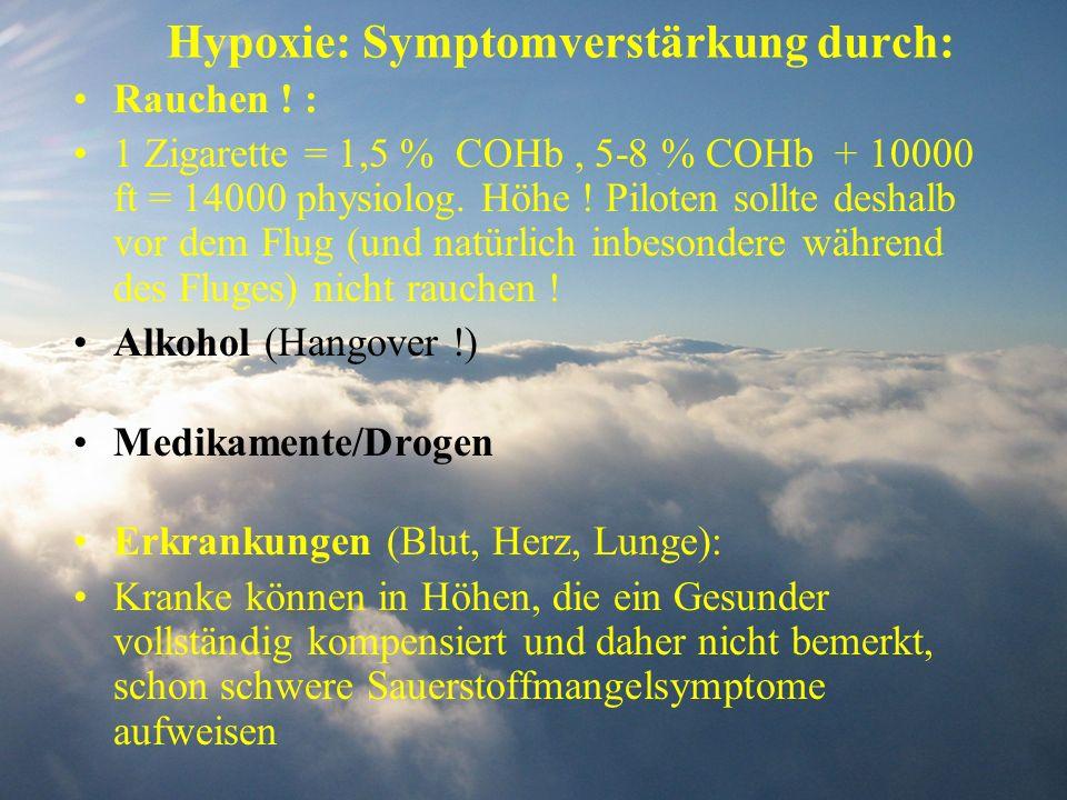 Hypoxie: Symptomverstärkung durch: Rauchen ! : 1 Zigarette = 1,5 % COHb, 5-8 % COHb + 10000 ft = 14000 physiolog. Höhe ! Piloten sollte deshalb vor de